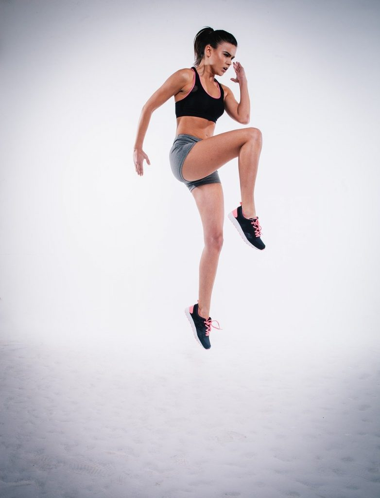 action, jump, woman